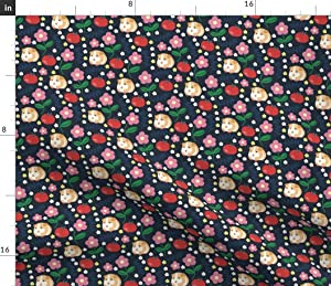 Spoonflower Fabric - Guinea Pigs Apples School Fruit Animal Printed on Fleece Fabric by The Yard - Sewing Blankets Loungewear and No-Sew Projects