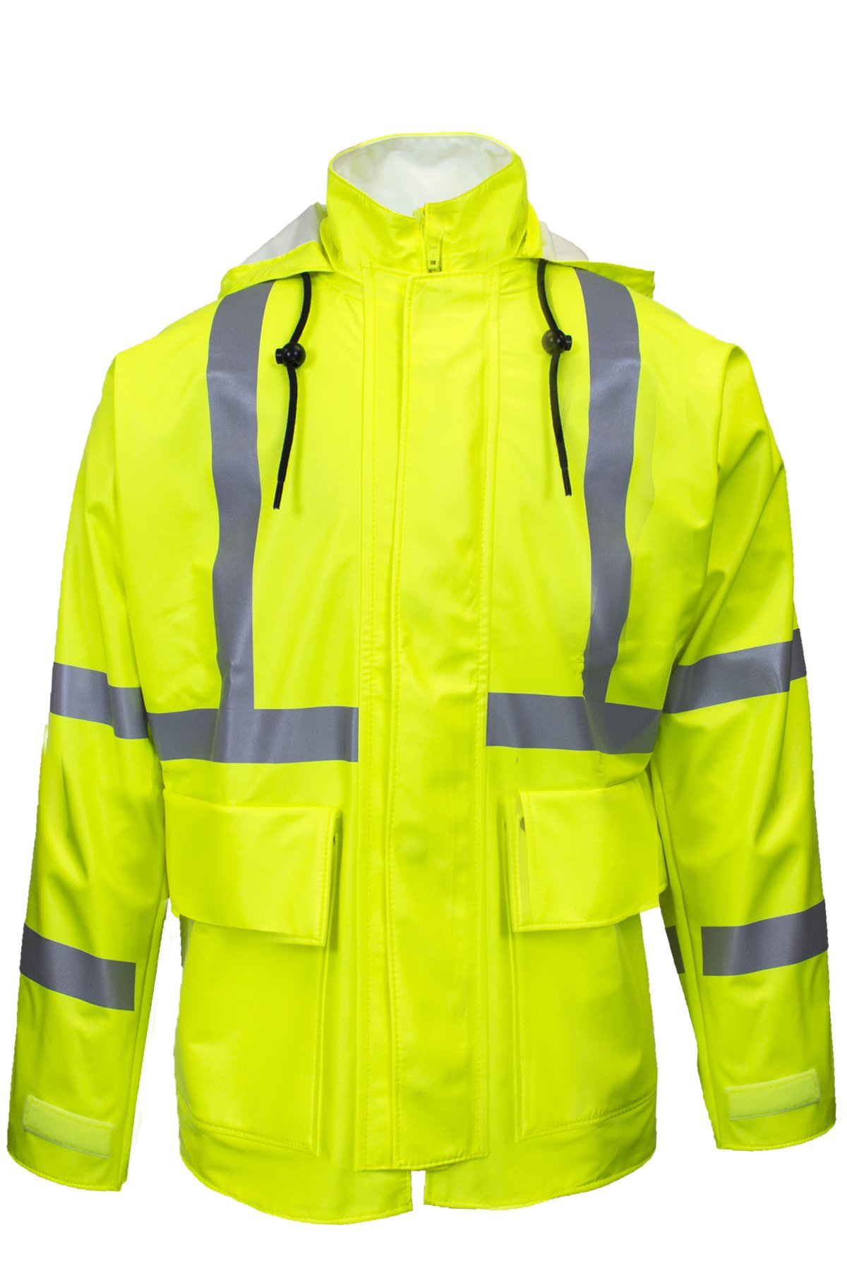 National Safety Apparel R30RL05LG Arc H2O FR Rain Jacket, Class 2, Large, Fluorescent Yellow