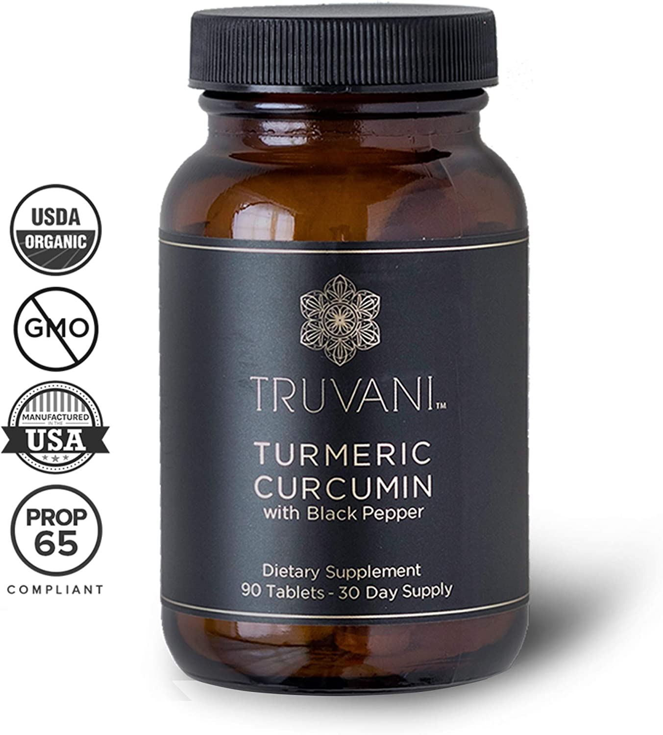 TRUVANI – Organic Turmeric Curcumin Supplement Turmeric Root Powder – with Black Pepper for Improved Absorption Anti-inflammatory, Joint Support Stress Relief Supplement – 90 Vegan Tablets