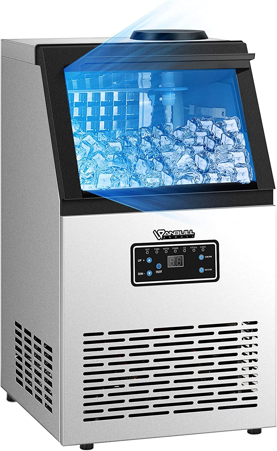Anbull Commercial Ice Maker Machine, 132LBS/24H with 26LBS Ice Storage Capacity, Stainless Steel Clear Ice Cube Maker Ideal For Home/Kitchen/Office/Restaurant/Bar/Coffee Shop