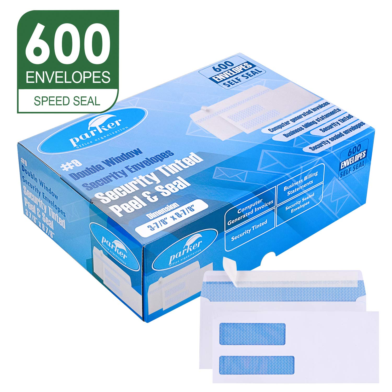 Parker #9 Double Window SELF SEAL Security Envelopes - 600 Per Box - Used for QuickBooks Invoices, Business Correspondence and Legal Documents - Security Tinted - Peel & Seal - 3 7/8'' x 8 7/8'' - 24 LB by Parker Security Envelopes
