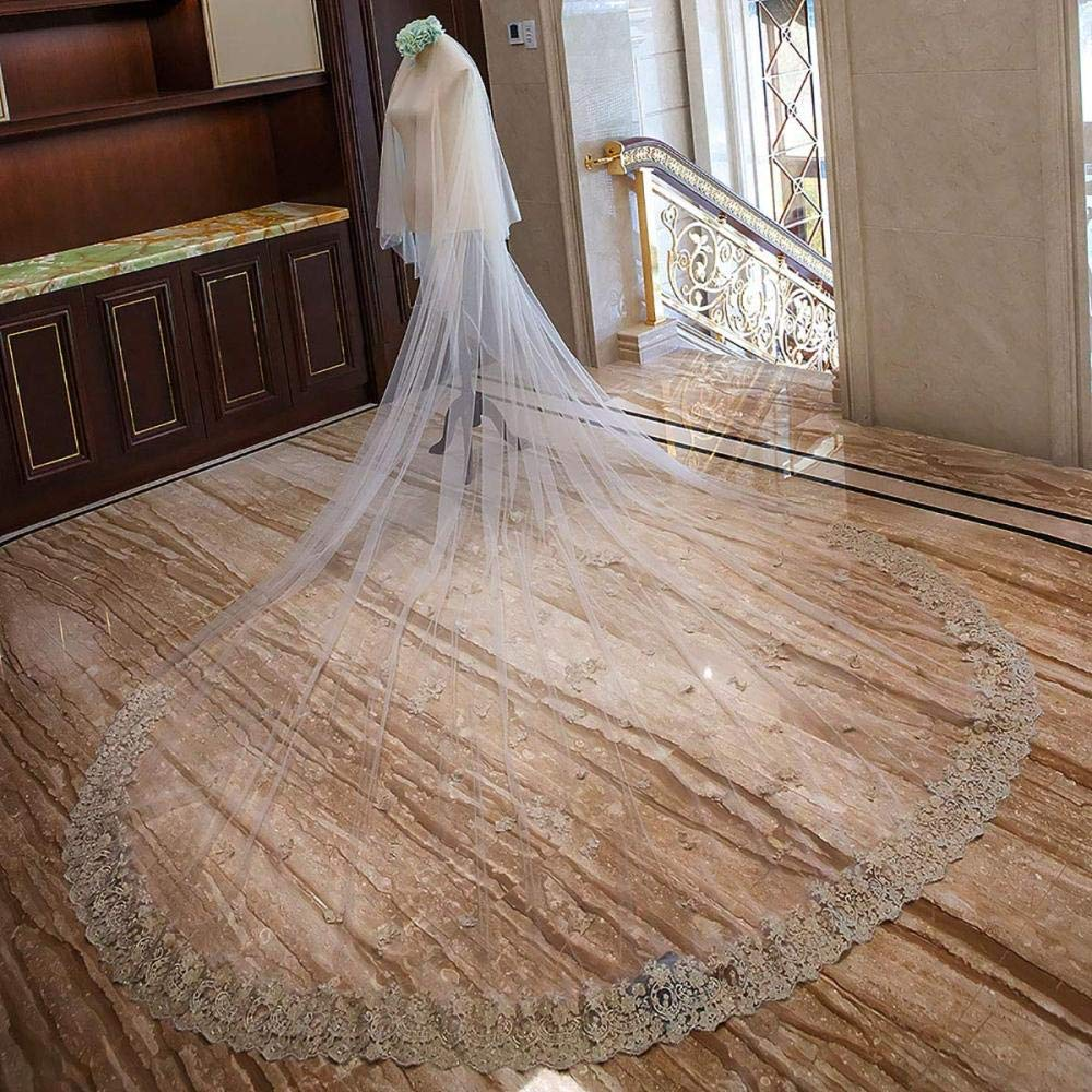Bridal Veil,Champagne Lace Flower 4M Long Fashion Applique Tulle with Comb Wedding Dress Accessories Prom Gown
