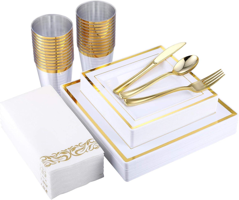 175 Piece Gold Dinnerware Set 25 Guest-50 Square Plastic Plates-25 Gold Plastic Silverware-25 Gold Plastic Cups-25 Linen Like Gold Paper Napkins, FOCUS LINE Disposable Dinnerware Set