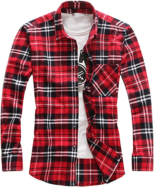 chouyatou Mens Basic Collar Slim Fit Plaid Buttoned Casual Shirts Tops
