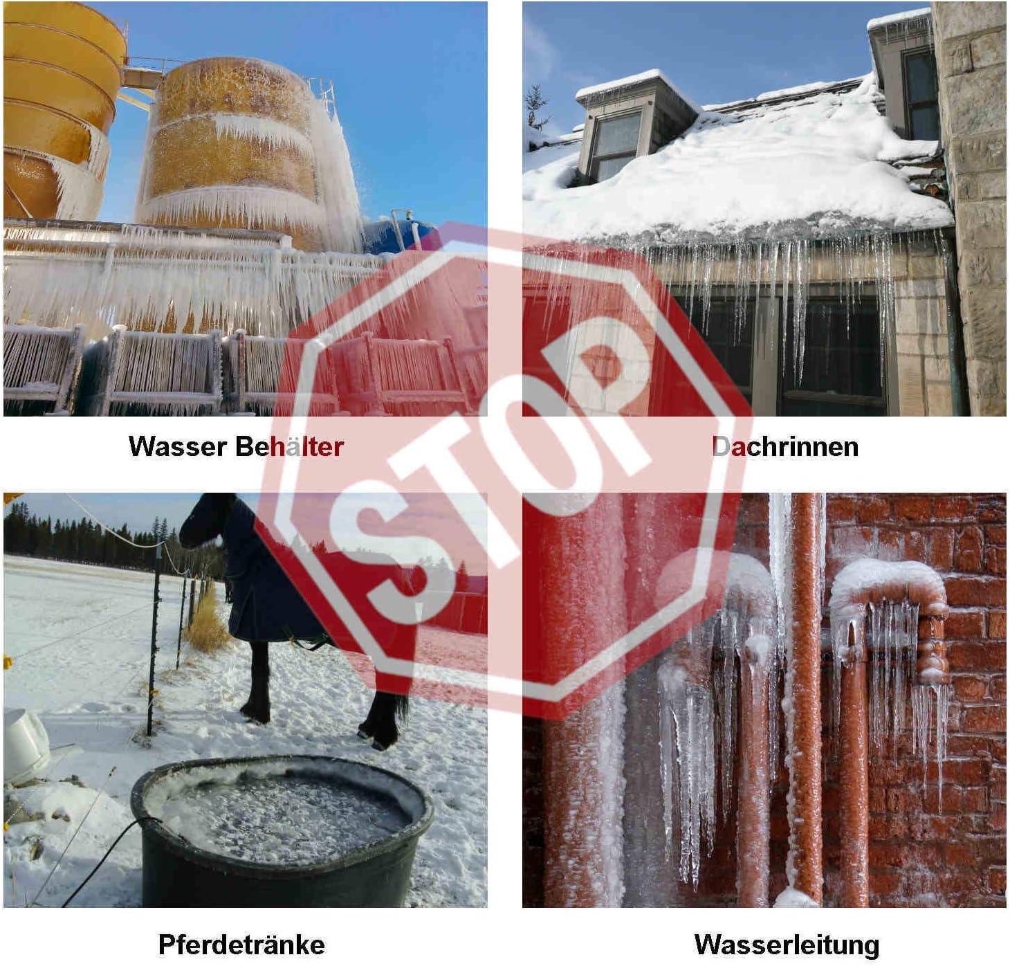 Wasserfeste Rohrbegleitheizung 6m mit eingebautem Thermostat Dachrinnenheizung