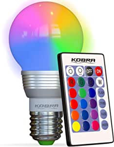 Kobra Retro LED Color Changing Light Bulb with Remote Control- 16 Different Color Choices Smooth Flash or Strobe Mode- Premium Quality & Energy Saving Lamps- Great for Decoration Parties & More