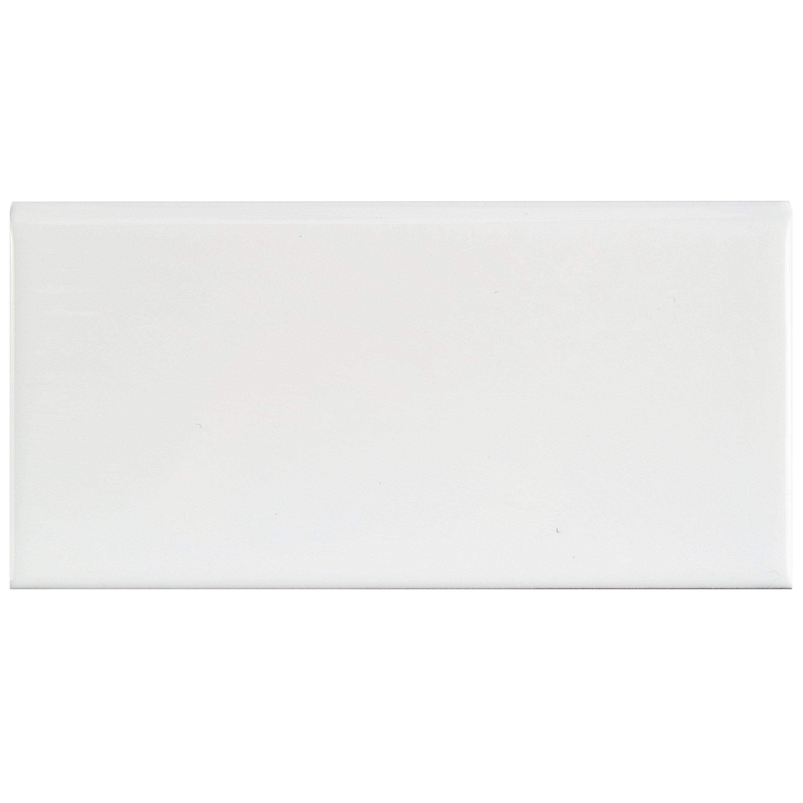 SomerTile WXRPSWBN Pente Subway Bullnose Ceramic Wall Tile, 3'' x 6'', Glossy White by SOMERTILE