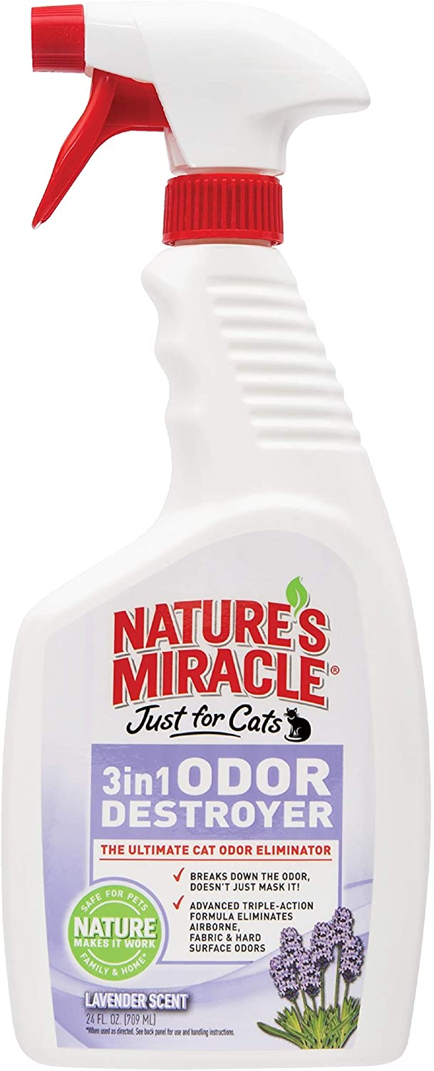 Nature's Miracle Just for Cats 3 in 1 Odor Spray, Lavender Scent 24 oz