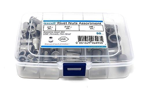 iExcell 25 Pcs 1//4-20 Carbon Steel Flat Head UNC Rivet Nuts Threaded Insert Nutserts Rivnuts Assortment