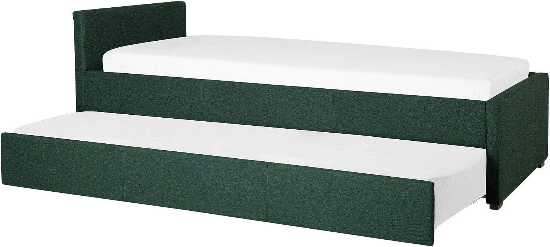 Beliani Cama Nido con somier Verde Oscuro 90x200 cm MARMANDE ...