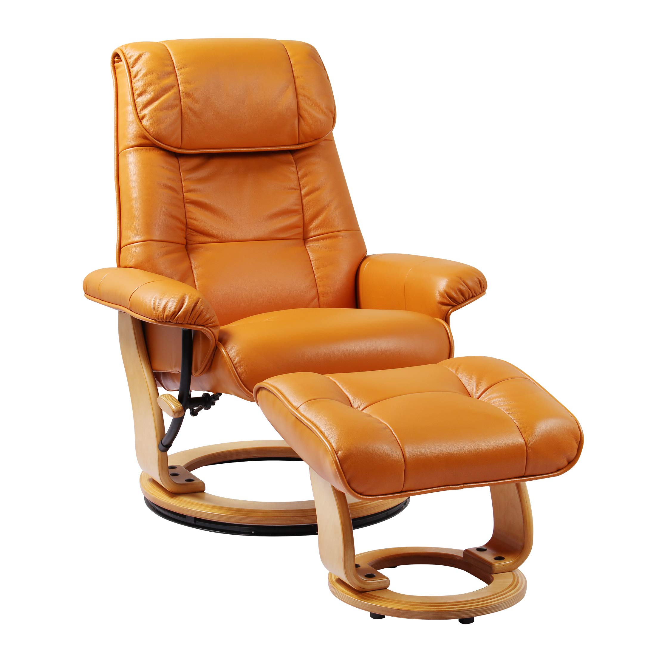 Coja by Sofa4life Leather Recliner and Ottoman, Orange by Coja