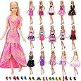 Miunana 12 Piezas Vestido Fashion Falda Mini Fiesta Ropas Casual + 10 Zapatos Accesorios como Regalo Estilo al Azar para Barbie Muñeca - CE Certificado