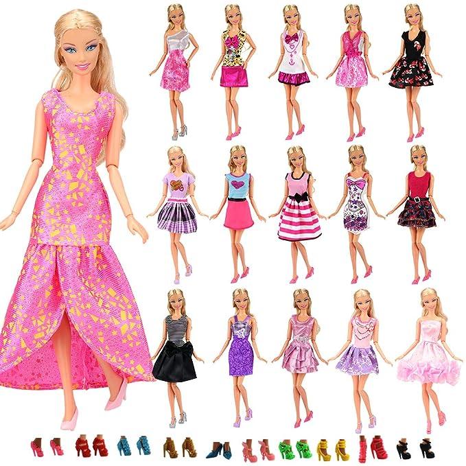 619af15b47a ... Vestido Fashion Falda Mini Fiesta Ropas Casual + 10 Zapatos Accesorios  como Regalo Estilo al Azar para Barbie Muñeca - CE Certificado  Juguetes y  juegos