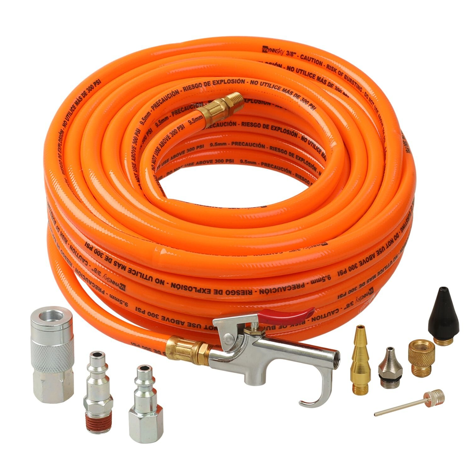 3/8''X50ft PVC Air Hose With 10 Piece Air tool and Accessory Kit With Blow Gun/Air Coupler(WYNNsky 300PSI) …