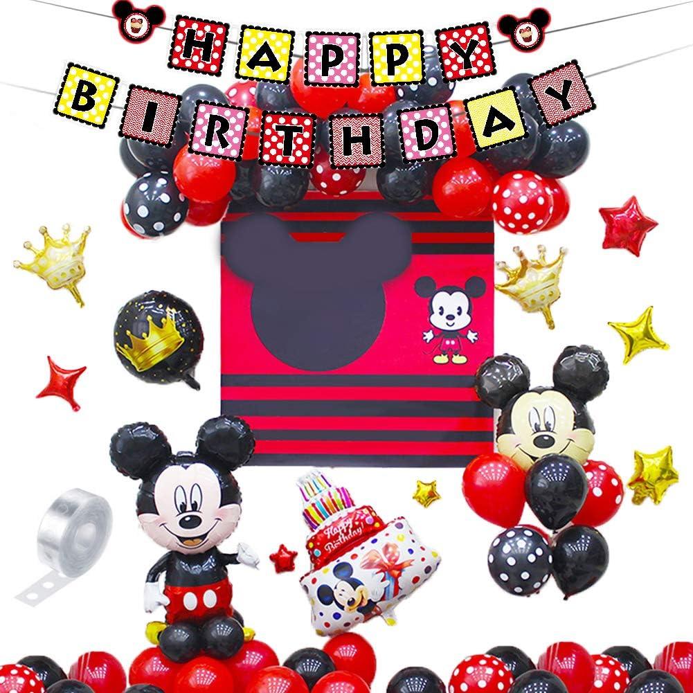 Decoraciones de cumpleaños de Mickey Mouse,46 PCS Banner de Happy Birthday adorno de pastel Globos de lunares para la fiesta temática de Mickey Mouse