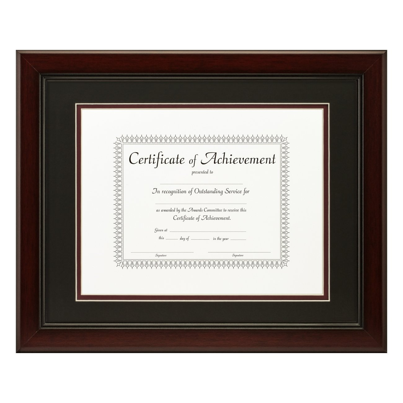 Craig Frames 11x14-Inch Mahogany Document Frame, Black / Maroon Double Mat with Single 8.5x11-Inch Opening