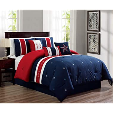 Empire Home 7 Piece USA Patriot Comforter Set - White Red Blue (Queen Size)