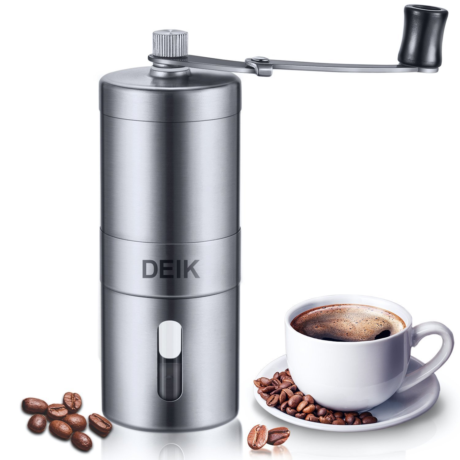 Coffee Grinder Deik, Espresso Coffee Bean Grinder, Portable Stainless Steel Grinder Manual, Best Conical Burr for Precision Brewing, Adjustable Salt Pepper Mill Grinds Beans Spices Brushed