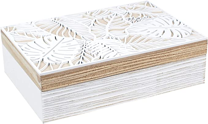 Vidal Regalos Caja Rectangular Madera Blanca 23 cm: Amazon.es: Hogar
