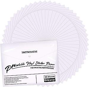 Premium Printable Vinyl Sticker Paper - for Inkjet and Laser Printer - 55 Pack Glossy White Waterproof Inkjet Printable Vinyl - Dries Quickly and Holds Ink Beautifully JANDJPACKAGING