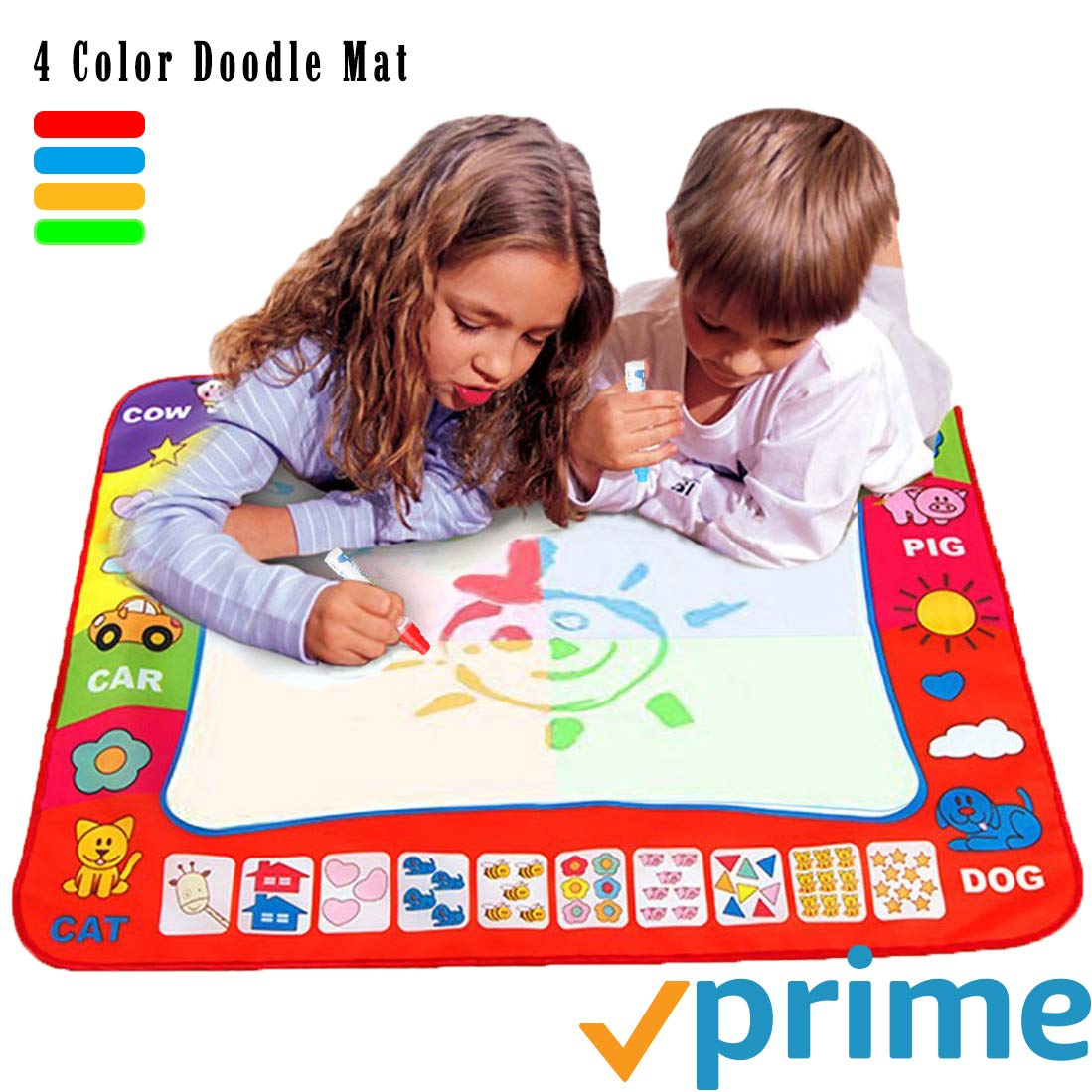 Original Pacakge Ehdching Aqua Magic Water Doodle Mat 4 Color Boys Water Magic Drawing Board Kids Educational Toy with 2 Magic Drawing Pens for Girls Toddlers Kids Children 31.5 x 23.6