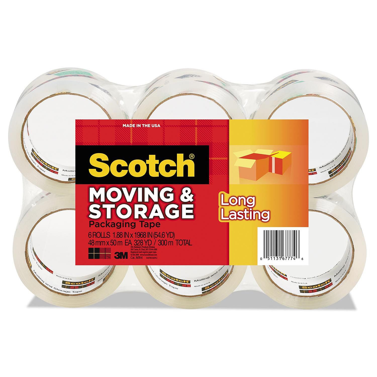 """1.88/"""" x 54.6 Yd Clear Scotch 3650 Long Lasting Moving /& Storage Packaging Tape"""
