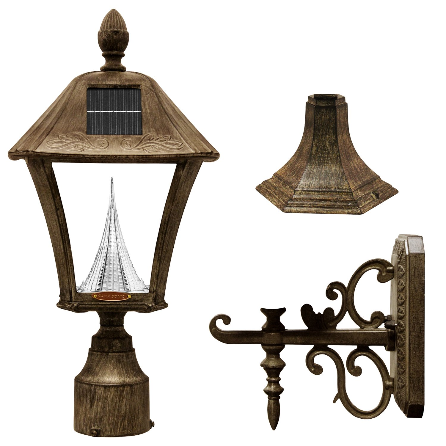 Gama Sonic Baytown Solar Outdoor Lamp GS-106FPW-WB - Pole/Pier/Wall Mount Kit - Weathered Bronze Finish by Gama Sonic
