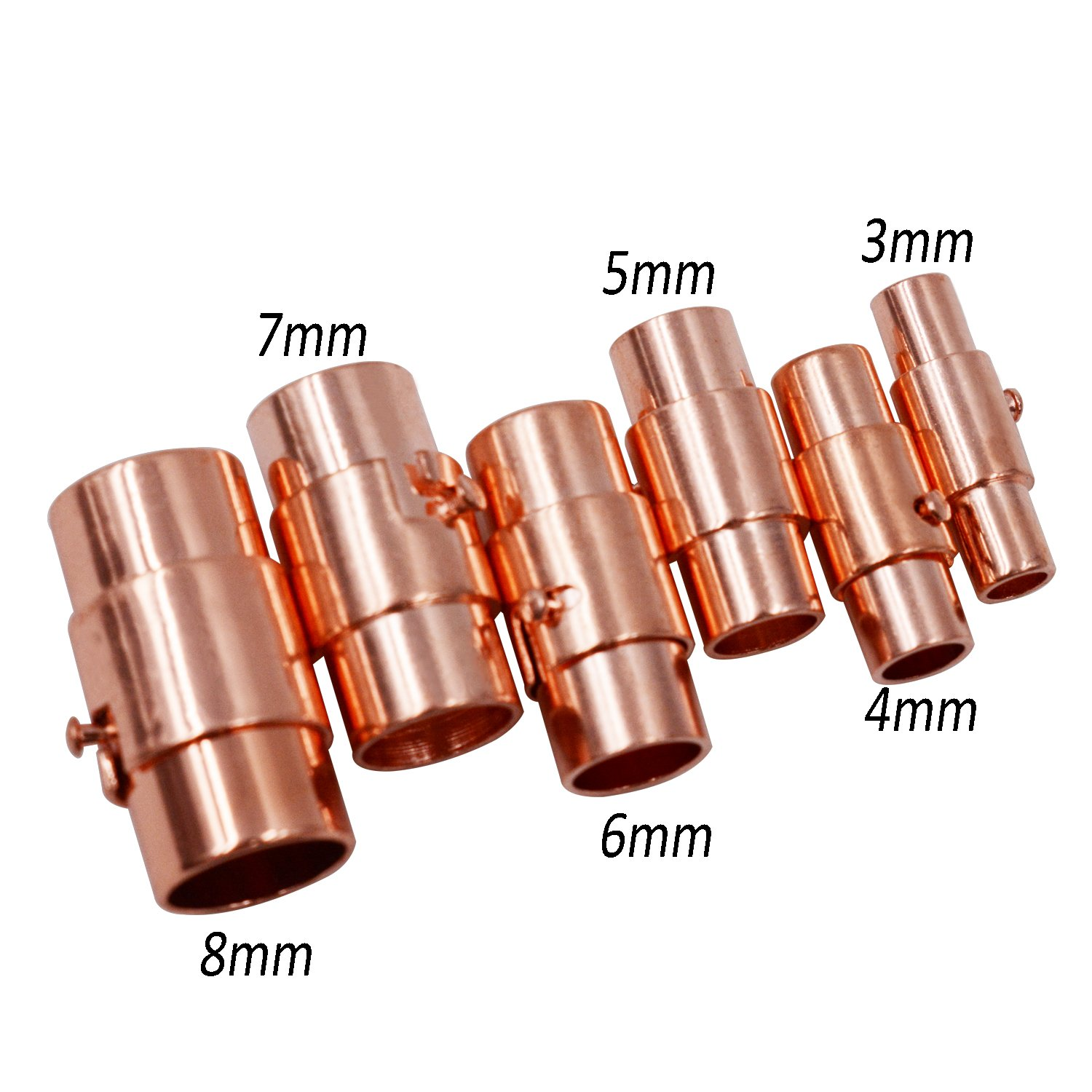 Rose Gold 6mm REVEW 20sets Leather Cord End Cap//Magnetic Clasp with Locking Mechanism Leather Rope Bracelet Buckle