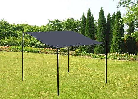 Westwood Metal montado en la pared Gazebo toldo Patio de jardín Marquee refugio toldo Pergola para puerta porche 3 mx 2,5 m), color gris