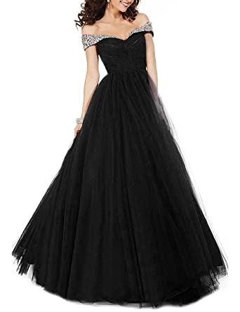 2641051a865c DarlingU Women s Off-The-Shoulder Prom Evening Dresses Beaded Formal Party  Gowns Long Black