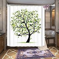 SUN-Cortina de ducha impermeable con diseño de árbol