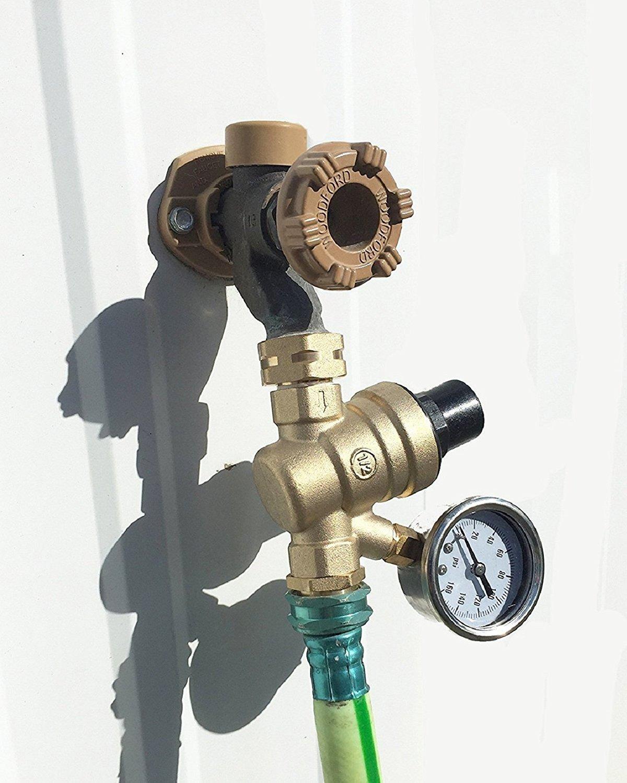 Signstek Water Pressure Regulator Brass Lead-Free with Gauge for RV Camper and Inlet Screened Filter