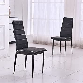 Amazon.de: gizza 2 x Kontrast Paspelierung Design Kunstleder Stühle ...