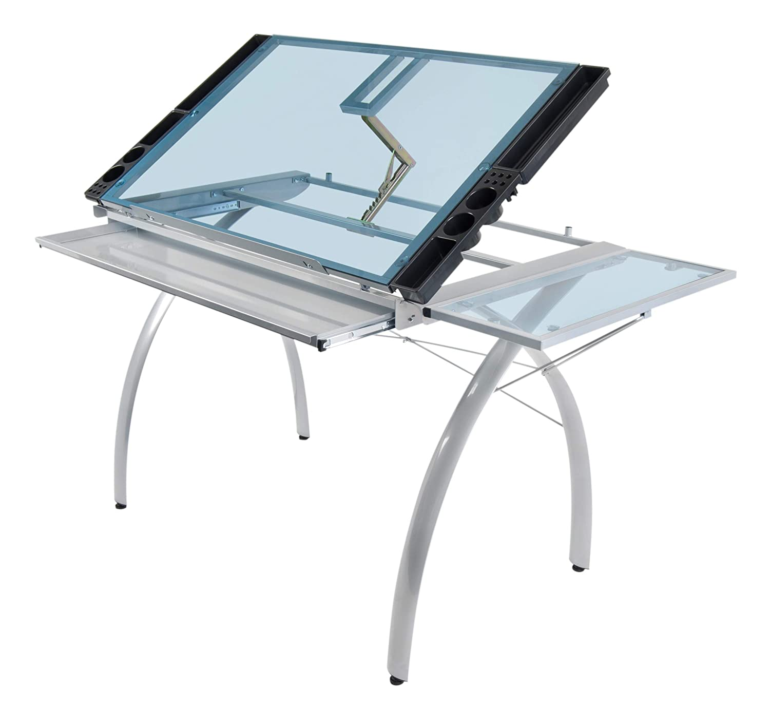 Studio Designs 10095 Futura Station with Folding Shelf Top Adjustable Drafting Craft Drawing Hobby Table Writing Studio Desk with Drawer, 35.5'' W x 23.75'' D, Silver/Blue Glass