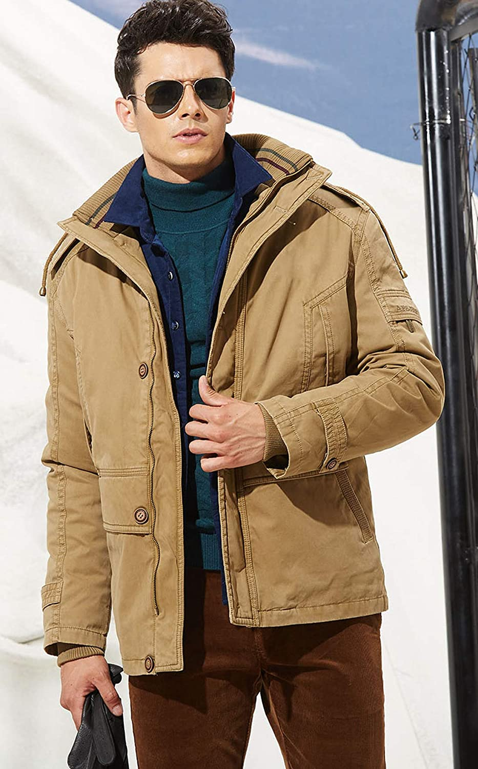 chouyatou Mens Winter Thicken Fleece Lined Two-Piece Outdoor Cotton Hooded Parka Jacket