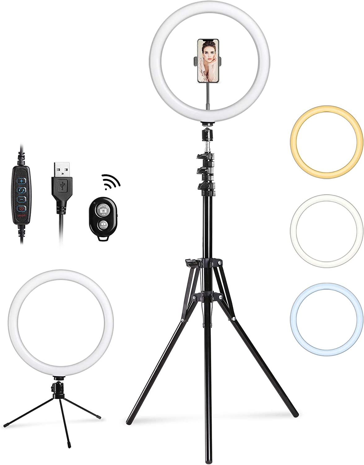 Entil 12'' Selfie Ring Light Mini LED Camera Lighting with Tripod and Cell Phone Stand Holder for YouTube Video Shooting/Photography Livestream Beauty Makeup, Compatible with iOS Android