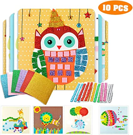 Amazon Com Here Fashion Diy Diamond Art Crafts For Kids Animal Friends Shimmer And Shine Sparkle Mosaics Handmade Art Crafts For Toddler 10 Pack Toys Games