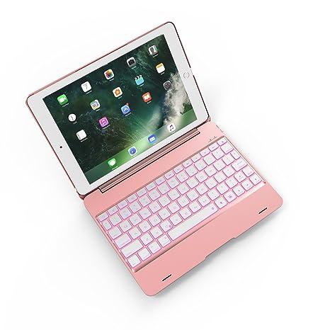 REFURBISHHOUSE Oro Rosa para iPad Pro 9.7 Ordenador portatil Teclado Bluetooth Cubierta Flip