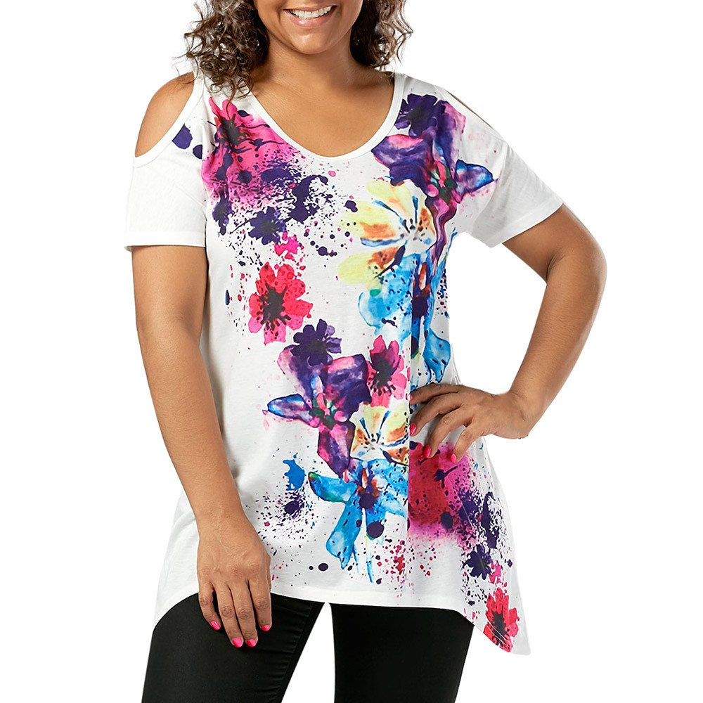 Top Blouse Womens Plus Size Short Sleeve Cold Shoulder Floral Print T-Shirt Tops White