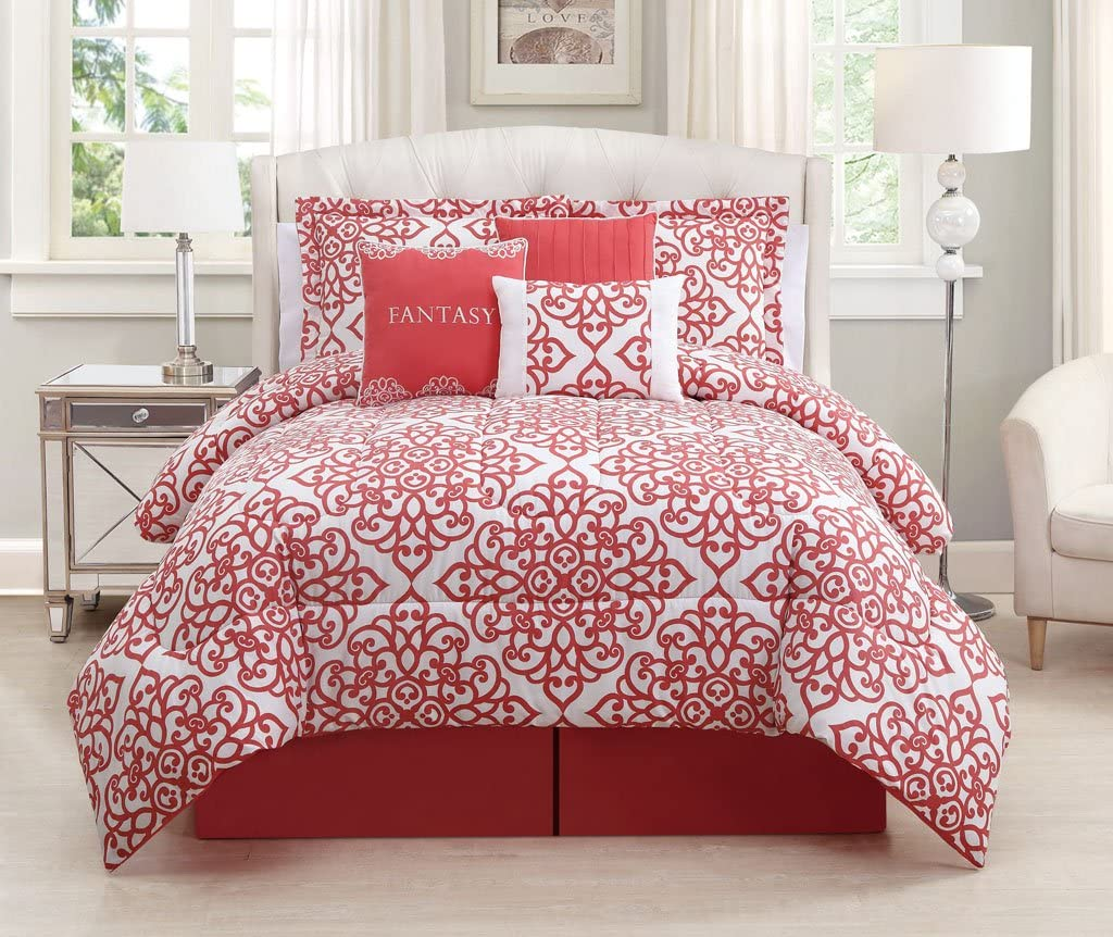 7 Piece King Fantasy Coral White Comforter Set Amazon Ca Home Kitchen
