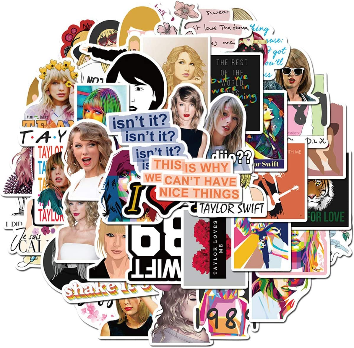 Water Bottle Cute Vine Buzzword Stickers (67pcs) Game Encouraging Wise Words Stickers Laptop Water Bottle Luggage Snowboard Bicycle Skateboard Decal for Kids Teens (Taylor Swift)