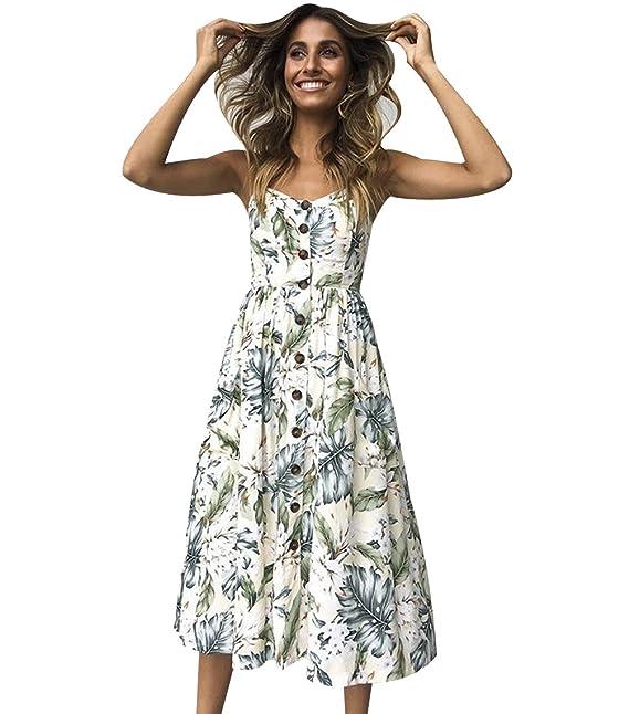 Vestidos de Verano Midi Mujer Vestido de Diario Boho Estampados Flores Casuales Vestidos Playeros Botón Cuello en V sin Mangas Diarios Señora Vestido ...