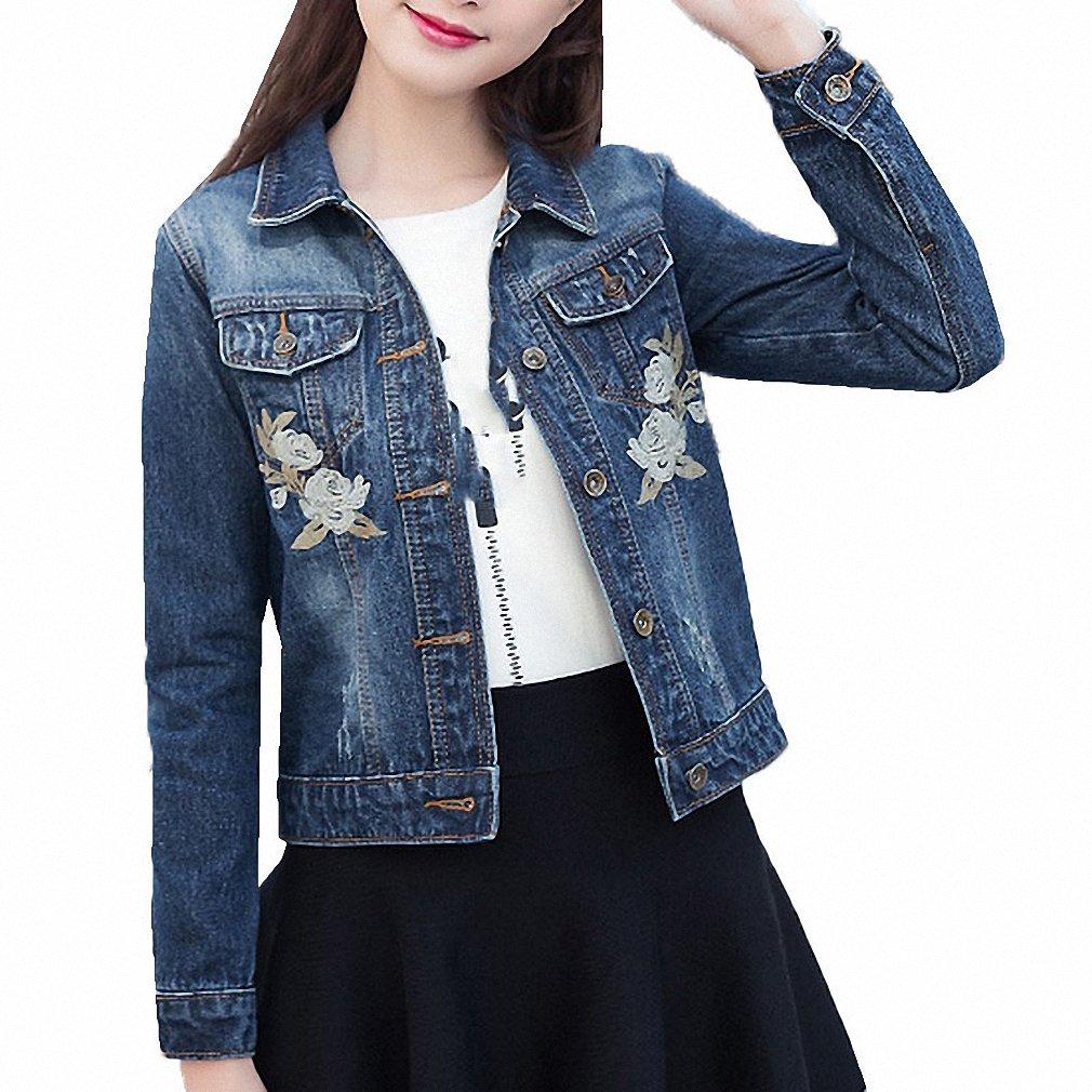Huiwa Womens Denim Jacket Rose Embroideried for Long Sleeve Elegant Short at Amazon Womens Coats Shop