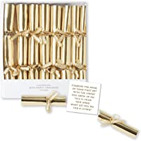 "C.R. Gibson Party Cracker Set (8 Piece), 4.4"" L X 0.5"" W, Gold"