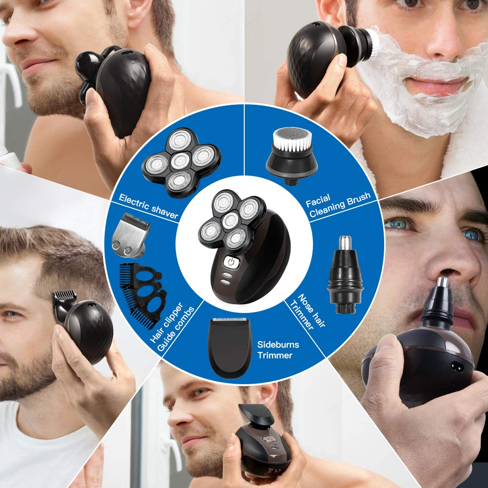 Electric Razor for Men, 5 In 1 Head & Face Electric Rotary Shaver Grooming Kit