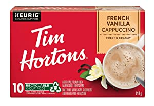 Tim Horton's Cappuccino French Vanilla k-cups 10 Count (Imported from Canada)