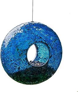 A Ting Garden Hanging Bird Feeder Mosaic Circle for Outdoor Decoration,Blue