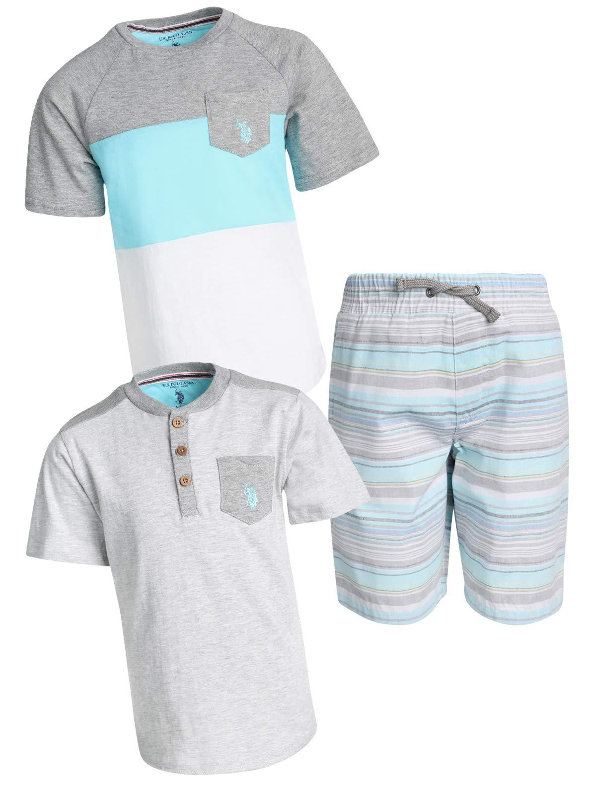'U.S.Polo Assn. Boys' 3 Piece Stylish Knit Tops and Shorts Set, Stripe/Grey, Size 5/6'