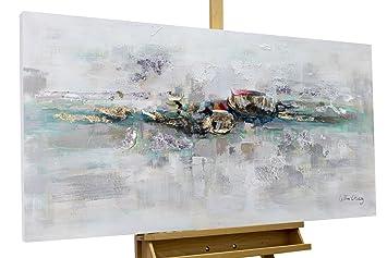 KunstLoft® Acryl Gemälde \'Mirage\' 120x60cm   original handgemalte Leinwand  Bilder XXL   Abstrakt Grau Blau Gold Schlafzimmer Küche   Wandbild Acryl ...