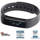 Newgen Medicals Uhr mit Vibrationsalarm: Fitness-Armband FBT-25, Bluetooth, Benachrichtigungen, OLED, IP67 (Smartband)